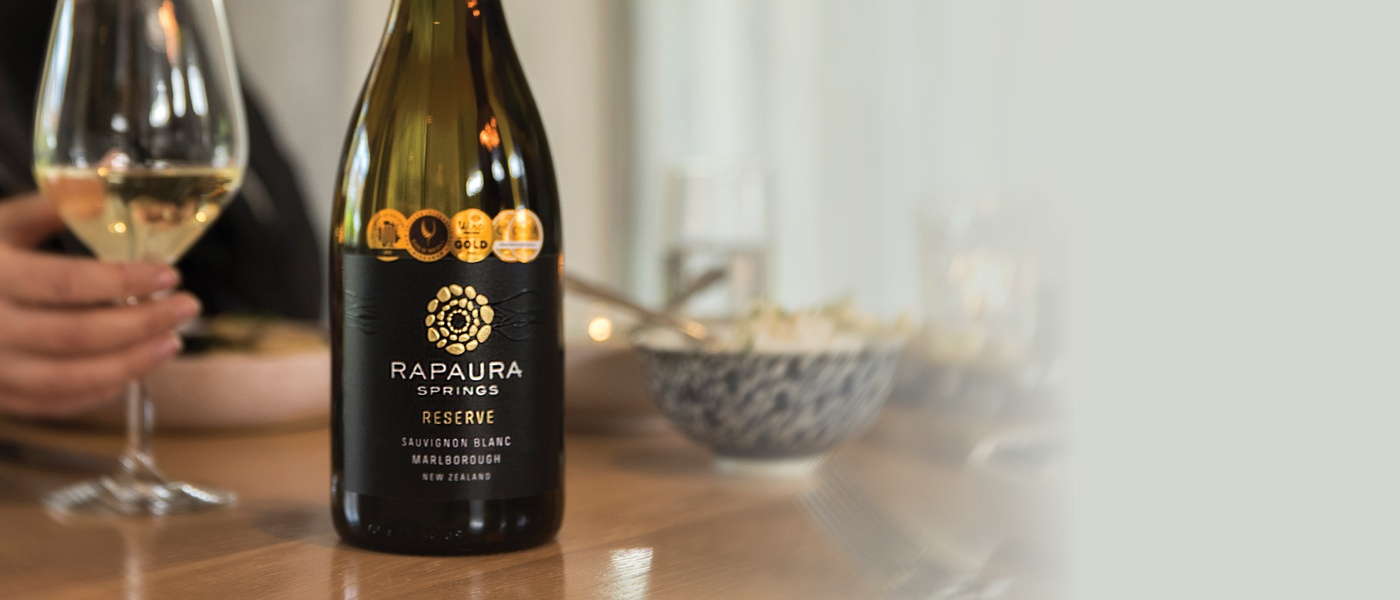 Bottle of Rapaua wine with glass