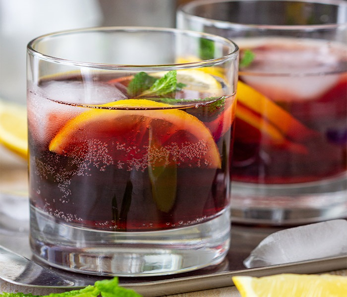 Red wine cocktail with garnish