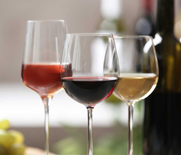 Glasses of a variation of wines