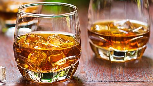 Irish whiskey cocktail in a bar