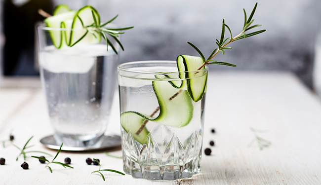 Glass of gin with cucumber