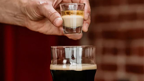 A beer and rum shot
