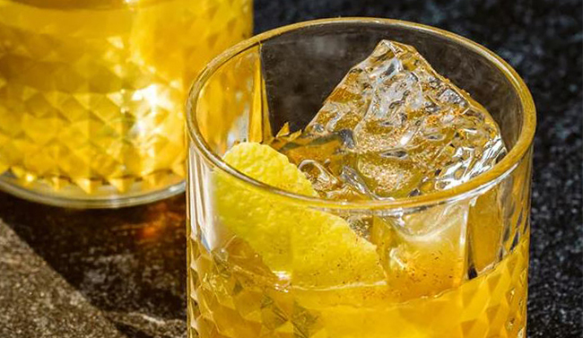 Rum and brandy cocktails with ice