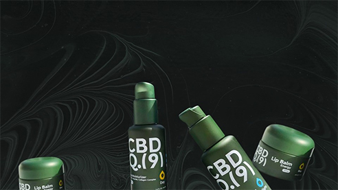 CBD products on a white backdrop