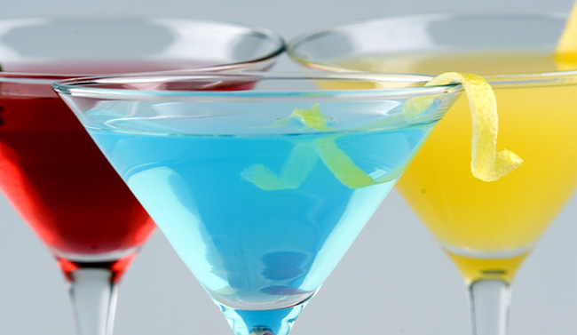 Colorful cocktails in a martini glass