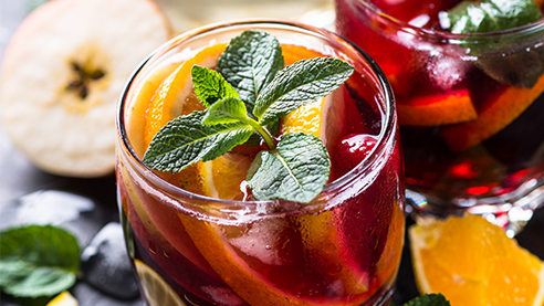 Red sangria cocktail up close